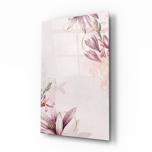 Pink Flower Pattern Glass Painting