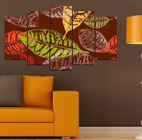 Abstract Leaves 5 Pieces MDF Painting