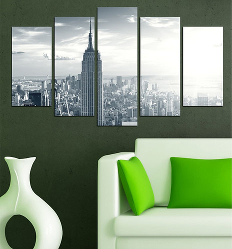 Empire state 5 Pieces MDF Painting