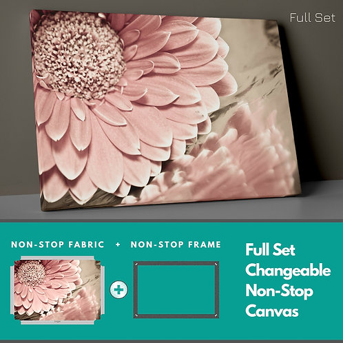 Retro Pink Flowers Non-Stop Canvas Printings