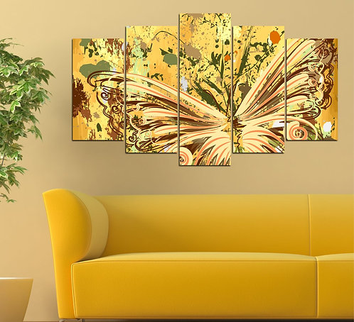 Abstract Butterfly 5 Pieces MDF Painting