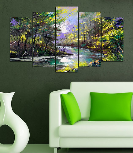 River 5 Pieces MDF Painting