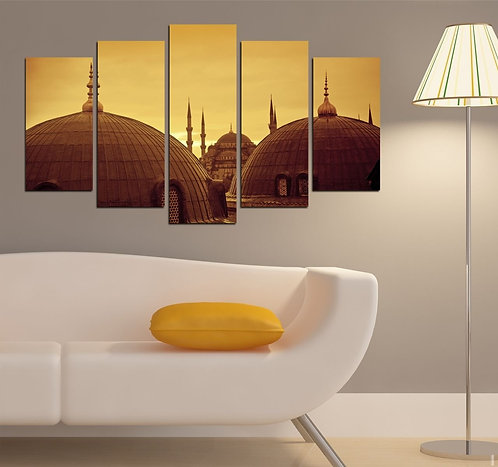 Mosque 5 Pieces MDF Painting