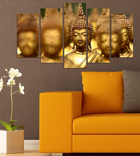 Buddha statue 5 Pieces MDF Painting