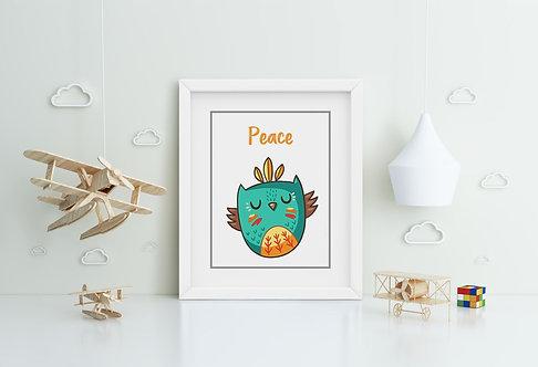 Owl-Peace Framed Printing