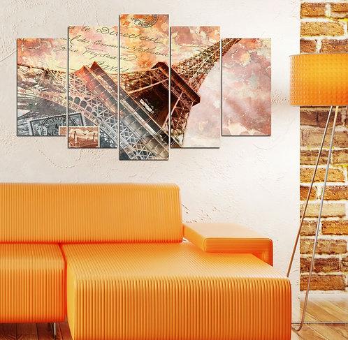 Eiffel (3) 5 Pieces MDF Painting