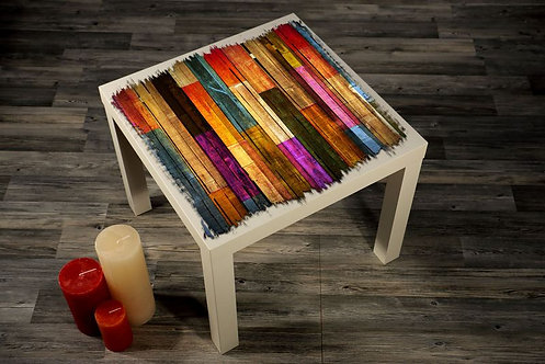 Wood Abstract Printed Coffee Tables