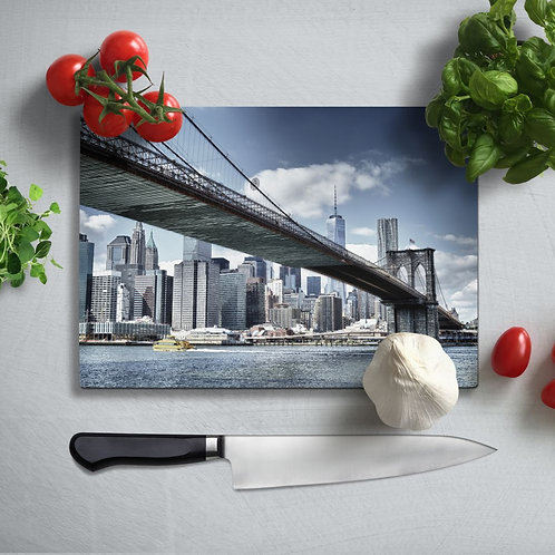 Manhattan Bridge Uv Printed Glass Chopping Board 35x25cm