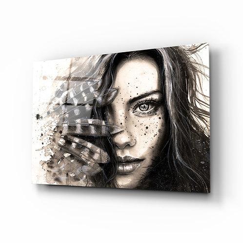 Woman Portrait Glass Painting