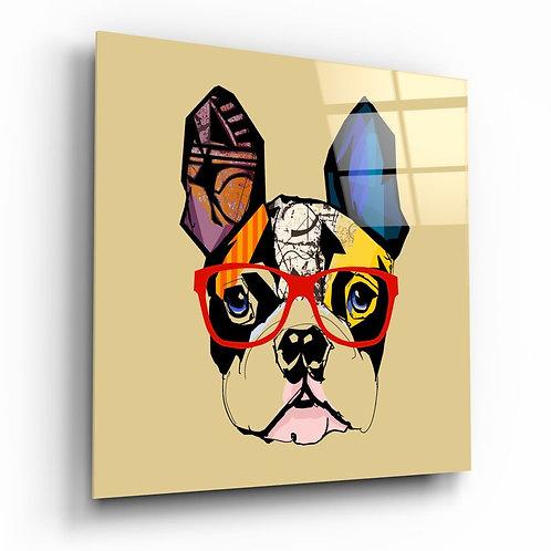 Bulldog Dog UV Printed Glass Painting