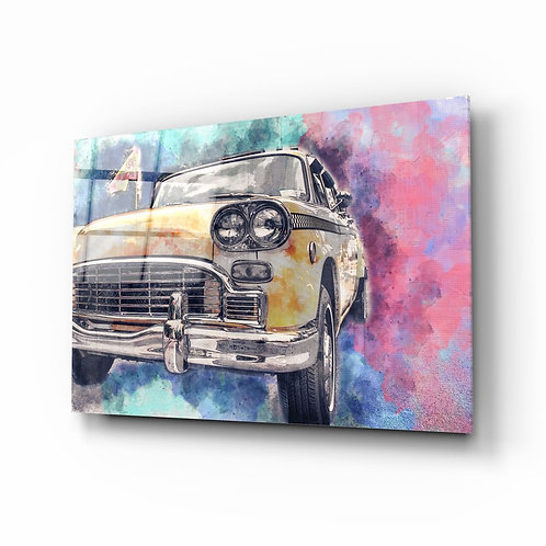 Illustration Taxi UV Printed Glass Painting