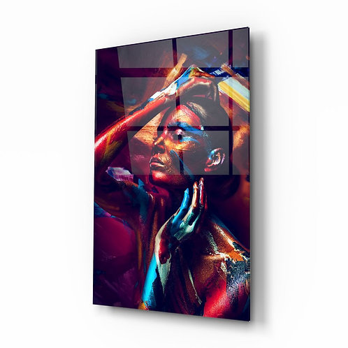 Woman Portrait UV Printed Glass Painting