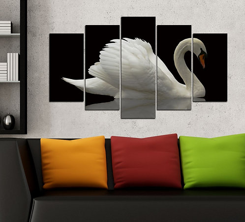 Swan 5 Pieces MDF Painting