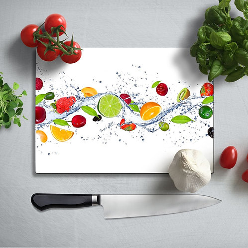 Delicious Fruits Uv Printed Glass Chopping Board 35x25cm