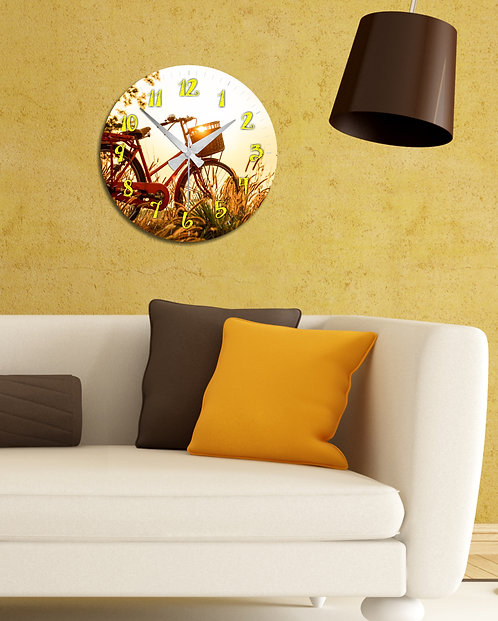 Bicycle with basket MDF Clock