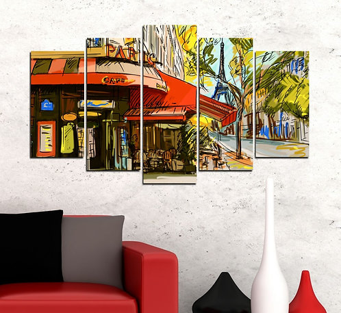Paris Cafe 5 Pieces MDF Painting