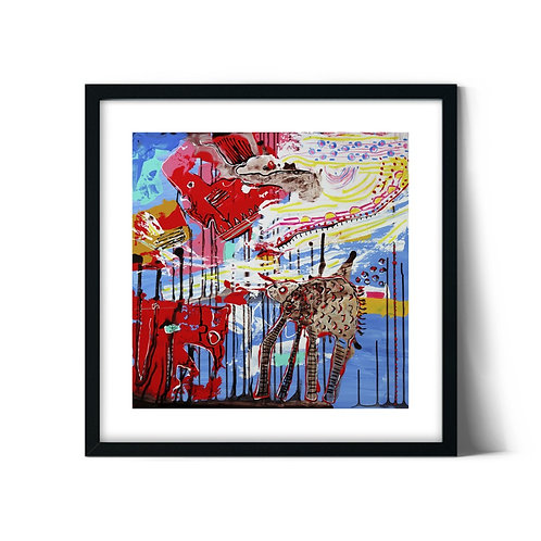 Abstract Turtle Framed Painting