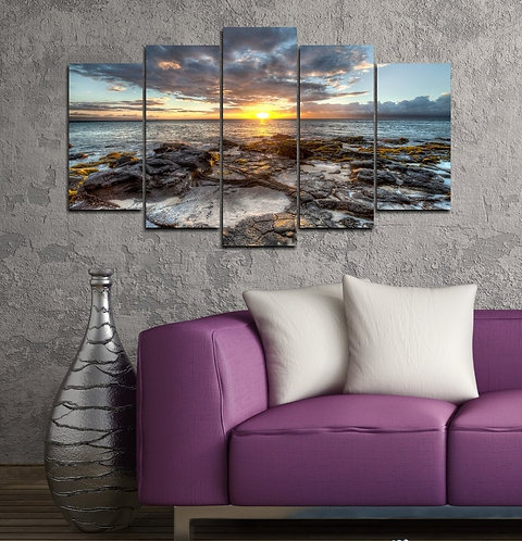 Sunset on the beach 5 Pieces MDF Painting