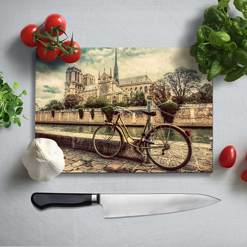 Bicycle UV Printed Glass Chopping Board 35x25cm