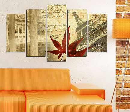 Abstract Eiffel (2) 5 Pieces MDF Painting