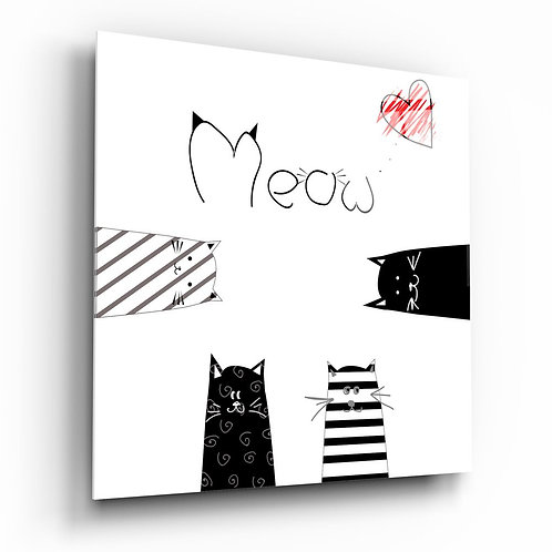 Meow (Cat) UV Printed Glass Painting