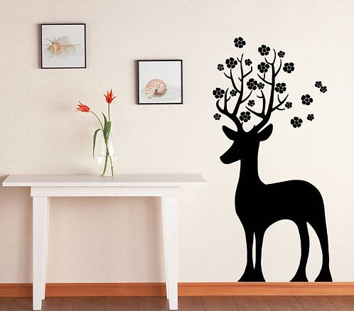 Deer And Flowers Wall Sticker