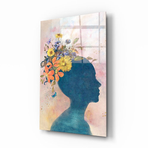Woman in Flower Hat Glass Printing