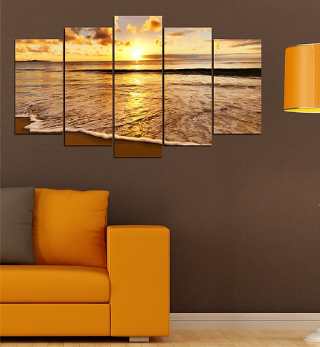 Sunset 5 Pieces MDF Painting