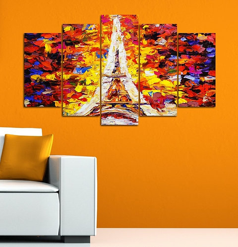 Abstract Eiffel 5 Pieces MDF Painting