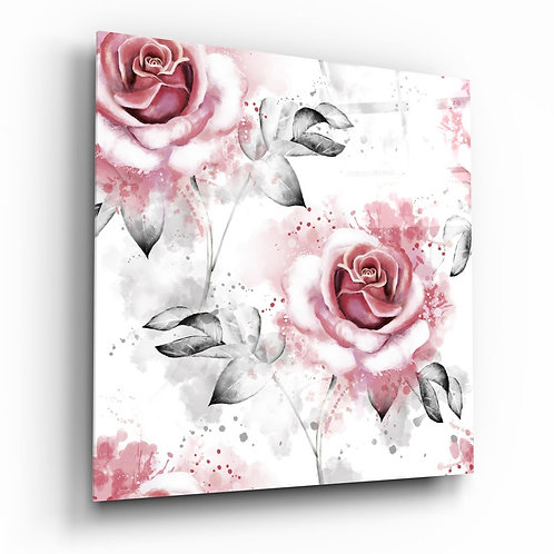 Pink rose UV Printed Glass Painting