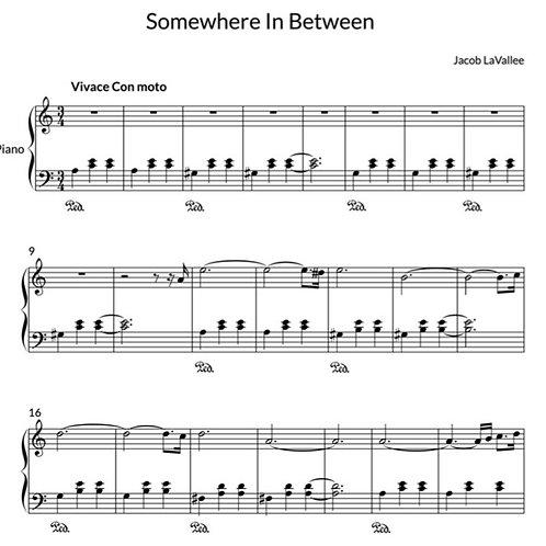 Somewhere In Between - Piano Sheet Music