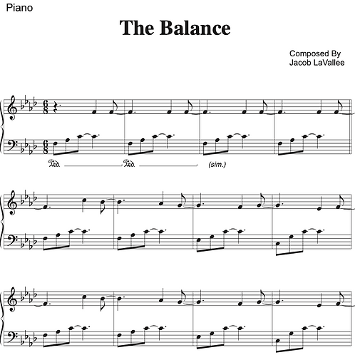 The Balance - Piano Sheet Music