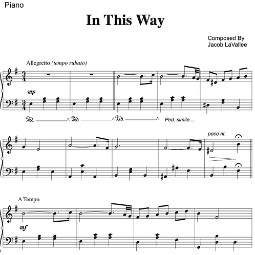 In This Way - Piano Sheet Music