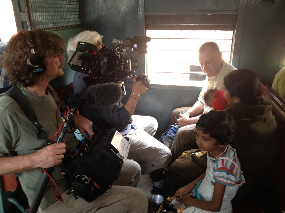 Filming with Alan in the train.