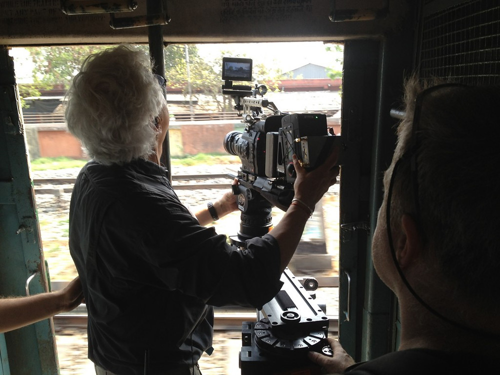 Shooting from the slider out the train door.