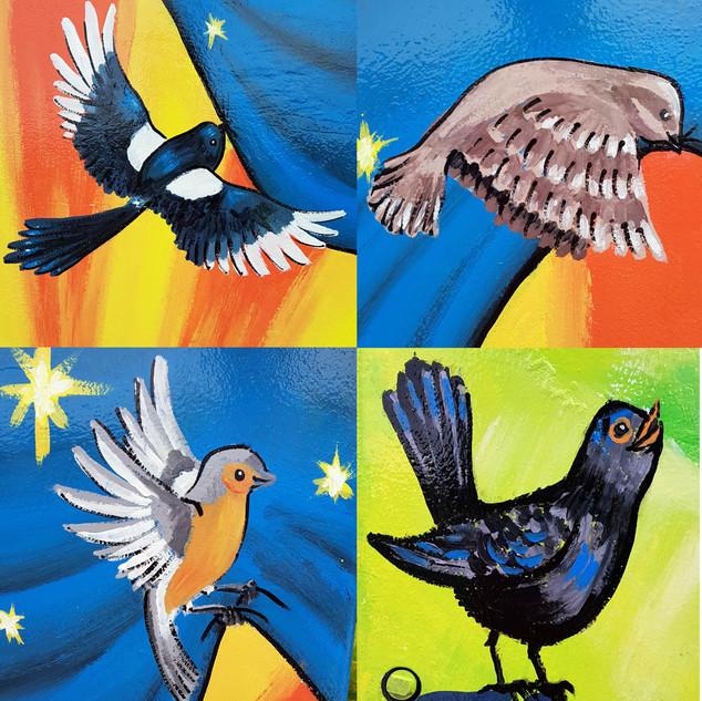 A close up of the birds on the Dublin Canvas project titled 'There's no Strength without Unity'