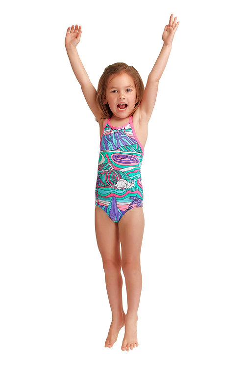 FUNKITA TODDLER GIRLS ECO PRINTED ONE PIECE (Palm Cove)