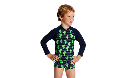 FUNKY TRUNKS TODDLER BOY'S ZIPPY RASH VEST (Prickly Pete)