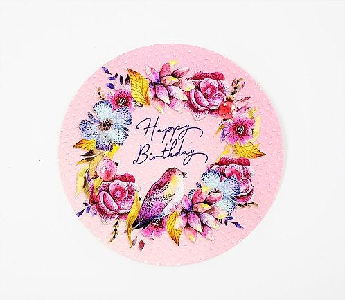 KunstpostKarte rund - Happy Birthday