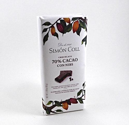 70% Cacao mit Nibs, Tafel