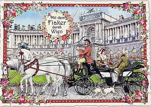 Kunstpostkarte - Fiaker Wien