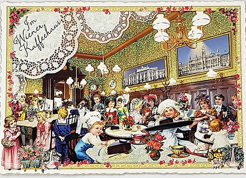 Kunstpostkarte - Wiener Kaffeehaus
