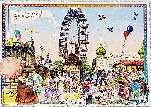 Kunstpostkarte - Riesenrad Wien