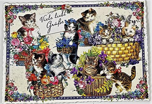 KunstpostKarte - Katze - viele liebe Grüße
