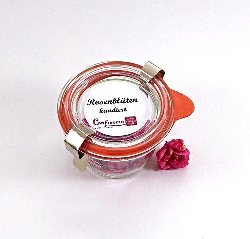 Kandierte Rosenblüten im Glas