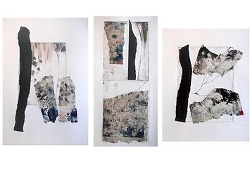Traces I, II, III, Mixed Media Print on Fabriano Paper