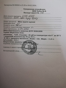 27. Суворовська птахоферма Паспорт якост