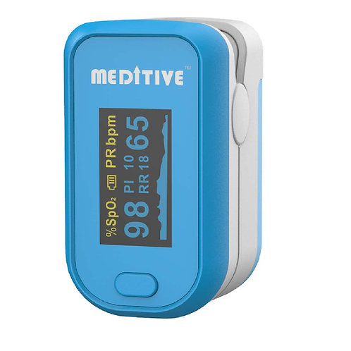 MEDITIVE Finger Tip Pulse Oximeter With Alarm Function. Blood Oxygen, Pulse Rate