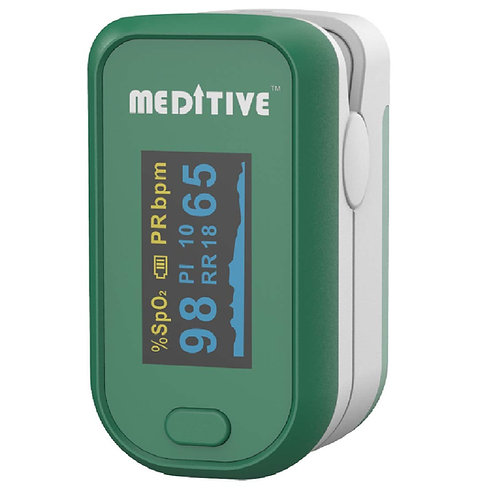 MEDITIVE Fingertip Pulse Oxygen Monitor, Pulse Rate with Respiratory Rate RR and