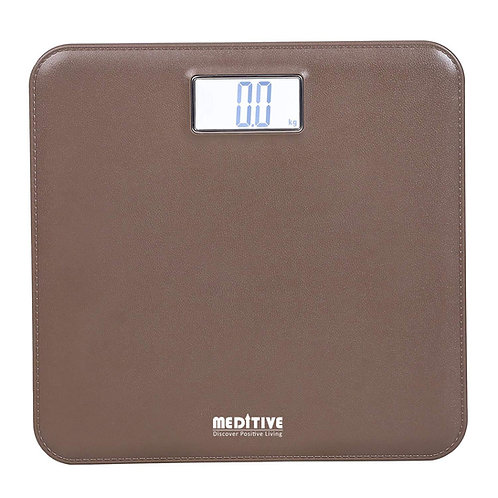 MEDITIVE Leather Look Fiber Body Digital Human Weighing Scale, 180kg with Accura